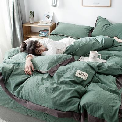 ins网红纯色水洗棉全棉床上用品四件套纯棉公主风床单被套三件套4 1.2m床(床单款) 宽边-墨绿