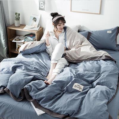ins网红纯色水洗棉全棉床上用品四件套纯棉公主风床单被套三件套4 1.2m床(床单款) 宽边-藏蓝