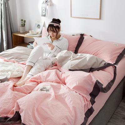 ins网红纯色水洗棉全棉床上用品四件套纯棉公主风床单被套三件套4 1.2m床(床单款) 宽边-粉玉