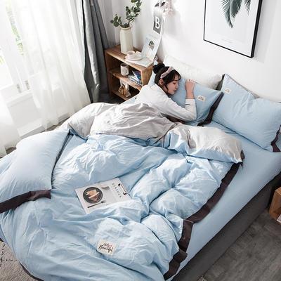 ins网红纯色水洗棉全棉床上用品四件套纯棉公主风床单被套三件套4 1.2m床(床单款) 宽边-蓝灰
