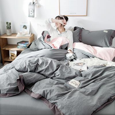 ins网红纯色水洗棉全棉床上用品四件套纯棉公主风床单被套三件套4 1.2m床(床单款) 宽边-深灰
