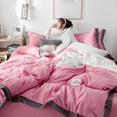 ins网红纯色水洗棉全棉床上用品四件套纯棉公主风床单被套三件套4 1.2m床(床单款) 宽边-樱粉