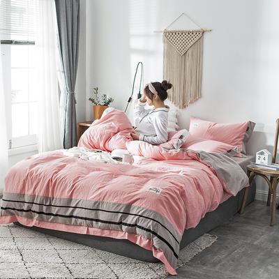 2019新款-水洗棉四件套 1.2m床(床单款) 条纹-青瓦兰