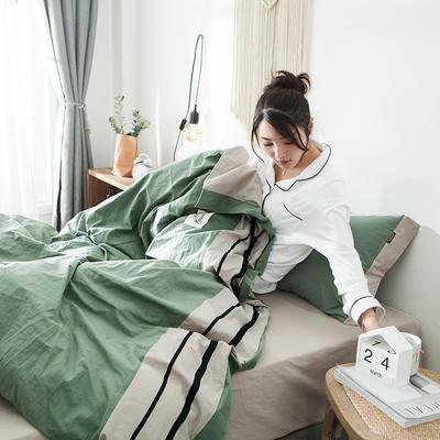 2019新款-水洗棉四件套 1.2m床(床单款) 条纹-抹茶绿