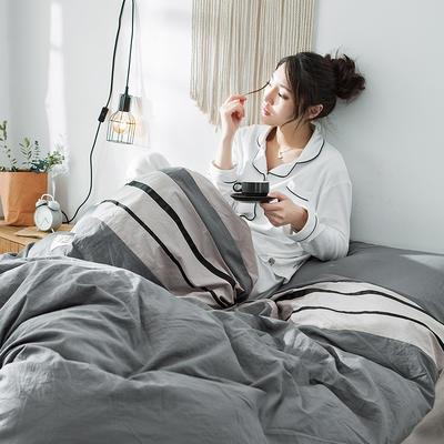 2019新款-水洗棉四件套 1.2m床(床单款) 条纹-牛仔灰