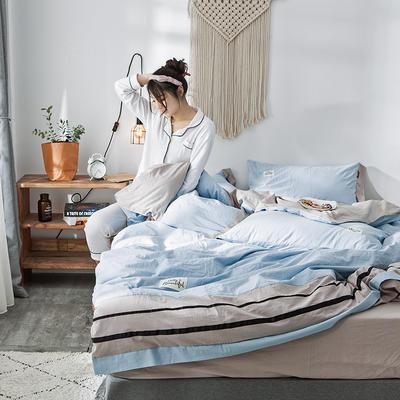 2019新款-水洗棉四件套 1.2m床(床单款) 条纹-天空蓝