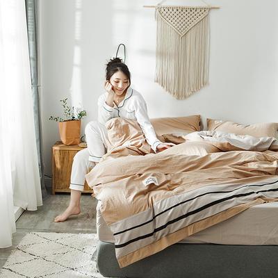 2019新款-水洗棉四件套 1.2m床(床单款) 条纹-驼卡其