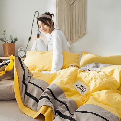 2019新款-水洗棉四件套 1.2m床(床单款) 条纹-网红黄