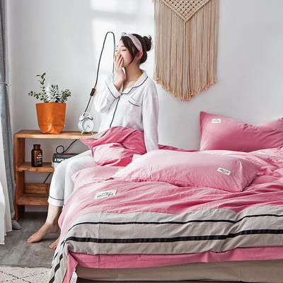 2019新款-水洗棉四件套 1.2m床(床单款) 条纹-胭脂粉