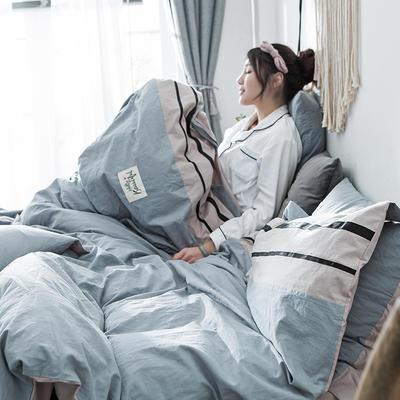 2019新款-水洗棉四件套 1.2m床(床单款) 条纹-烟波兰