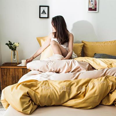 2019新款-天丝四件套冰丝真丝床单款水洗真丝床笠床上用品三件套 1.8m(6英尺)床 床单款 亮黄卡其