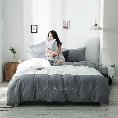 2019新款-天丝四件套冰丝真丝床单款水洗真丝床笠床上用品三件套 1.8m(6英尺)床 床单款 浅灰亮白