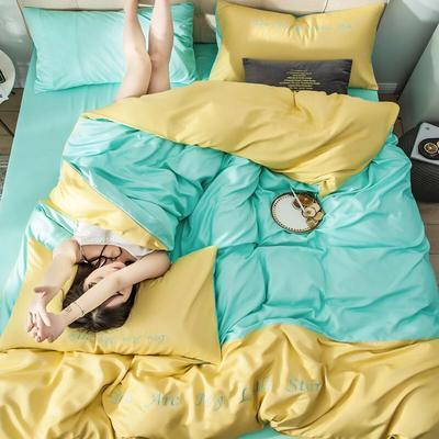2019新款-天丝四件套冰丝真丝床单款水洗真丝床笠床上用品三件套 1.8m(6英尺)床 床单款 亮黄水绿