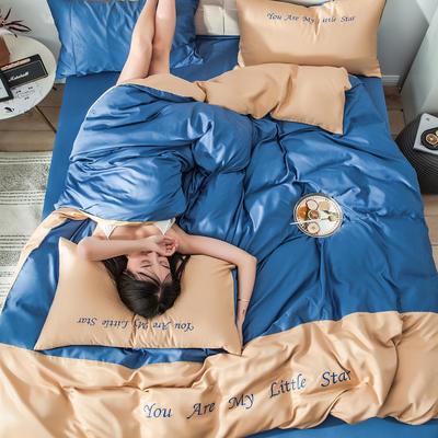 2019新款-天丝四件套冰丝真丝床单款水洗真丝床笠床上用品三件套 1.8m(6英尺)床 床单款 深驼藏蓝