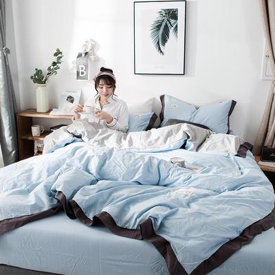 2019新款全棉四件套纯棉四件套纯色四件套 1.2m床 床单款 宽边 蓝灰