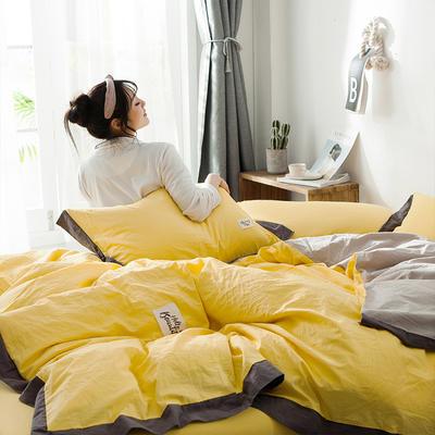 2019新款全棉四件套纯棉四件套纯色四件套 1.2m床 床单款 宽边 亮黄