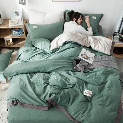 2019新款全棉四件套纯棉四件套纯色四件套 1.2m床 床单款 宽边 墨绿