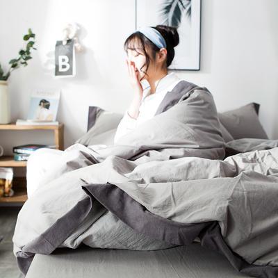 2019新款全棉四件套纯棉四件套纯色四件套 1.2m床 床单款 宽边 浅灰