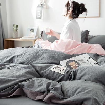 2019新款全棉四件套纯棉四件套纯色四件套 1.2m床 床单款 宽边 深灰