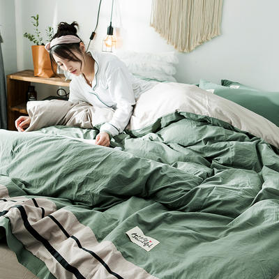 2019新款全棉四件套纯棉四件套纯色四件套 1.2m床 床单款 条纹 抹茶绿