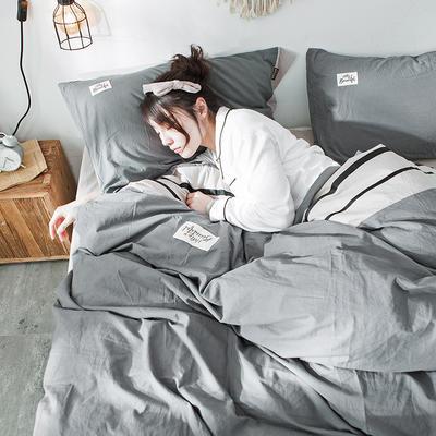 2019新款全棉四件套纯棉四件套纯色四件套 1.2m床 床单款 条纹 牛仔灰