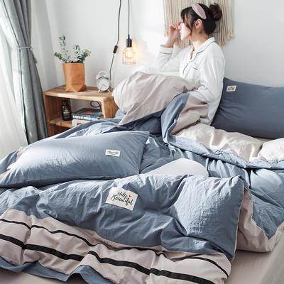 2019新款全棉四件套纯棉四件套纯色四件套 1.2m床 床单款 条纹 青瓦兰
