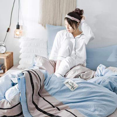 2019新款全棉四件套纯棉四件套纯色四件套 1.2m床 床单款 条纹 天空蓝