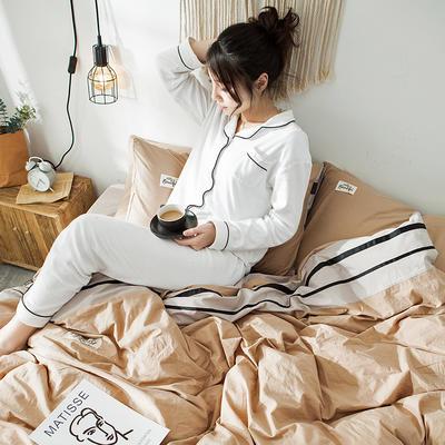 2019新款全棉四件套纯棉四件套纯色四件套 1.2m床 床单款 条纹 驼卡其
