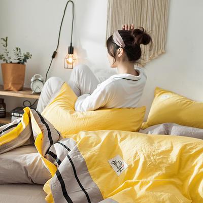 2019新款全棉四件套纯棉四件套纯色四件套 1.2m床 床单款 条纹 网红黄