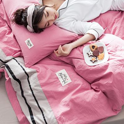 2019新款全棉四件套纯棉四件套纯色四件套 1.2m床 床单款 条纹 胭脂粉