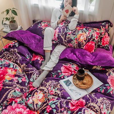 2019新款水晶绒四件套珊瑚绒四件套法兰绒四件套法莱绒四件套-印花款 1.8m床单款 国色天香