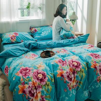 2019新款水晶绒四件套珊瑚绒四件套法兰绒四件套法莱绒四件套-印花款 1.8m床单款 邂逅浪漫