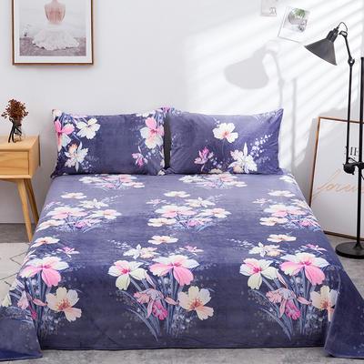 2019新款水晶絨單件床單 250cmx250cm 簇錦團花-藏藍