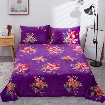 2019新款水晶絨單件床單 250cmx250cm 沁園蘭芳-紫色