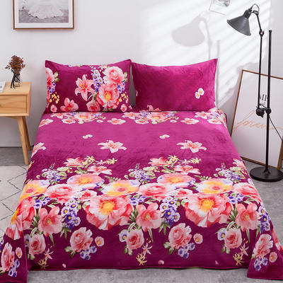 2019新款水晶絨單件床單 250cmx250cm 月移花影-紫色