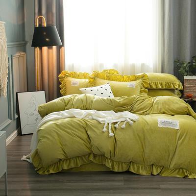 2019水晶絨韓版荷葉邊四件套 1.5m-1.8m床單款四件套 舒心鵝黃色