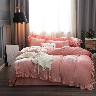 2019水晶絨韓版荷葉邊四件套 1.5m-1.8m床單款四件套 舒心粉玉色