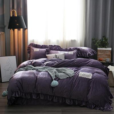 2019水晶絨韓版荷葉邊四件套 1.5m-1.8m床單款四件套 舒心富貴紫
