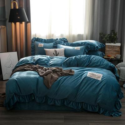 2019水晶絨韓版荷葉邊四件套 1.5m-1.8m床單款四件套 舒心孔雀藍