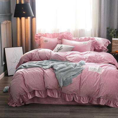 2019水晶絨韓版荷葉邊四件套 1.5m-1.8m床單款四件套 舒心藕粉色