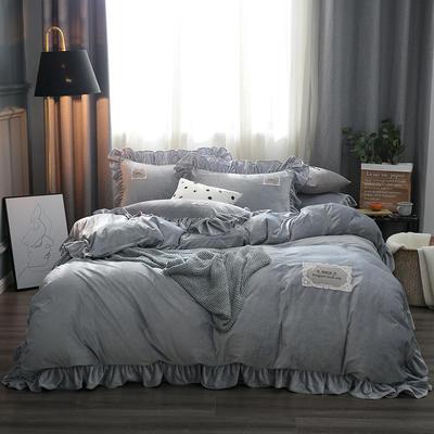2019水晶絨韓版荷葉邊四件套 1.5m-1.8m床單款四件套 舒心淺銀灰