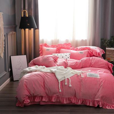 2019水晶絨韓版荷葉邊四件套 1.5m-1.8m床單款四件套 舒心桃粉色