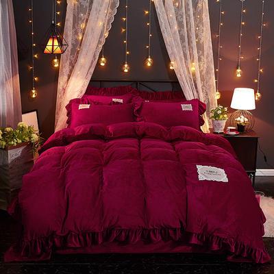 2019水晶絨韓版荷葉邊四件套 1.5m-1.8m床單款四件套 舒心紫紅