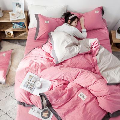 2020新款全棉水洗棉系列四件套 1.2m床单款三件套 宽边 樱粉