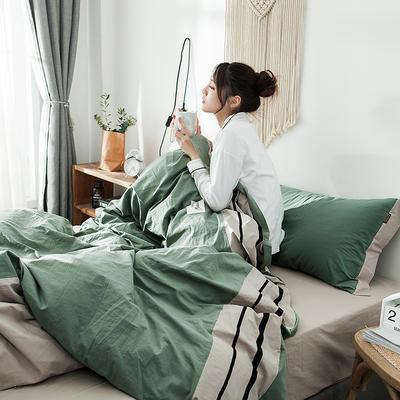 2020新款全棉水洗棉系列四件套 1.2m床单款三件套 条纹-抹茶绿