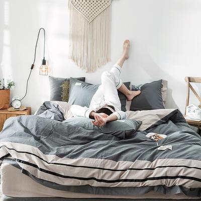 2020新款全棉水洗棉系列四件套 1.2m床单款三件套 条纹-牛仔灰