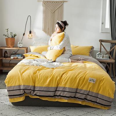 2020新款全棉水洗棉系列四件套 1.2m床单款三件套 条纹-网红黄