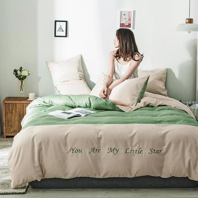 2020新款天丝绣花系列四件套 1.2m床单款三件套 卡其抹茶绿