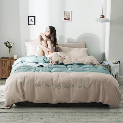 2020新款天丝绣花系列四件套 1.2m床单款三件套 卡其浅绿
