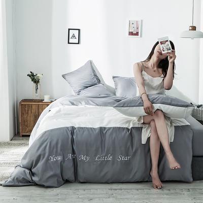 2020新款天丝绣花系列四件套 1.2m床单款三件套 浅灰亮白
